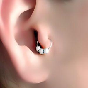 Stardust beaded tragus/helix hoop earring